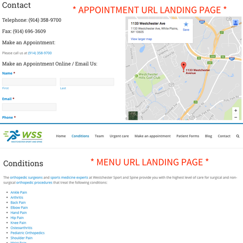 Google Appointment and Menu URL Landing Page